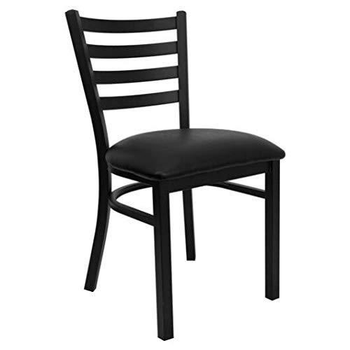 Flash Furniture Hercules Series Black Ladder Back Metal Restaurant Chair - Black Vinyl Seat (8 Pack) by Flash Furniture