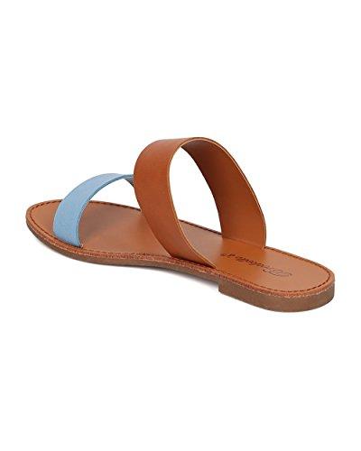 Breckelles Women Double Band Sandal - Open Toe Flat Sandal - Double Band Slide - HK74 Blue Leatherette nZo889