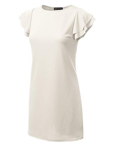 Girocollo Pieghe A Petalo Dressis Vestito white Midi Awdhl07 Delle A Donne Manica Bqgw6pd