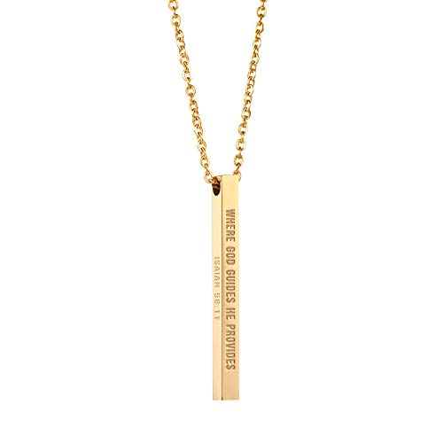 Joycuff Scripture Jewelry for Women Religious Necklace Vertical Bar Pendant Necklaces Where God Guides he Provides ()