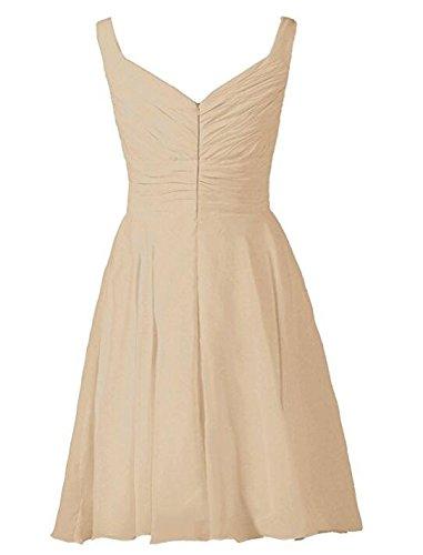 Evening Wedding AK V Champagne Bridesmaid Prom Neck Dress Sleeveless Short Dresses Beauty Chiffon Party q8ga1xPq
