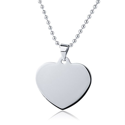 LiFashion LF Mens Womens Stainless Steel Silver Personalized Nameplates Military Heart Dog Tag Pendant Necklace for Engagement Anniversary Birthday Gift,Free Engraving (Personalized Dog Tag Pendant)