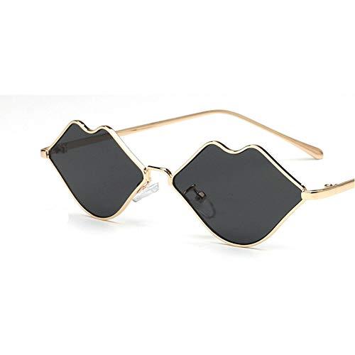2018 New fashion ladies lip-shaped sunglasses small frame metal sunglasses ()