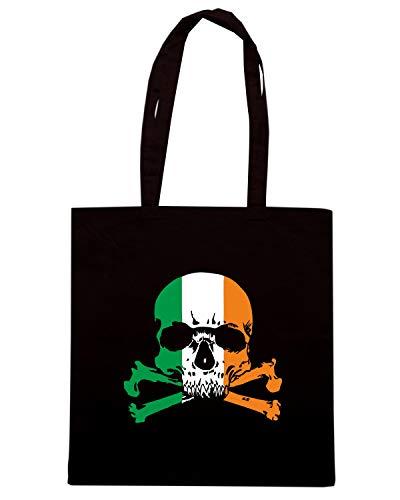 Borsa Shopper Nera TIR0109 IRISH SKULL N CROSSBONES