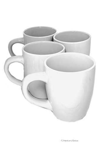 Set 4 Extra-Large White Porcelain 24oz American-Style Morning Coffee Mugs Cups