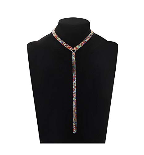 LIAO Jewelry 3 Row Rhinestone Choker Necklace Crystal Tassel Wide Collar Necklaces Gothic Diamond Charms for Women Girls (Rainbow Color)