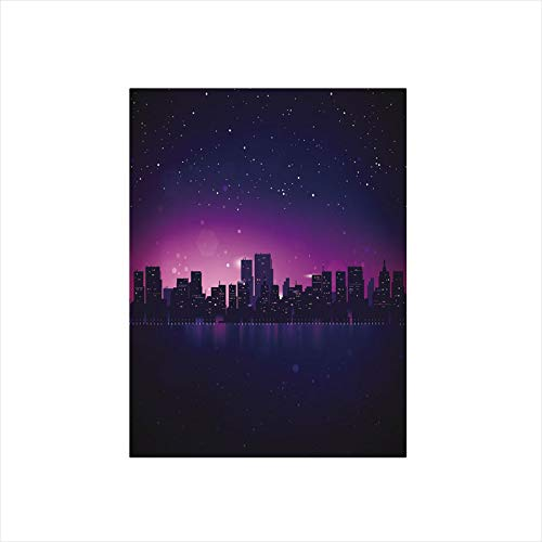 - Decorative Privacy Window Film/City Skyline Silhouette Skyscrapers Abstract Graphic Architecture Urban Life/No-Glue Self Static Cling for Home Bedroom Bathroom Kitchen Office Decor Indigo Light Pink