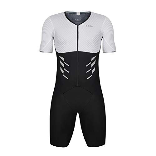 (ROKA Men's Gen II Elite Aero Short Sleeve Triathlon Sport Suit - White/Black - Large)