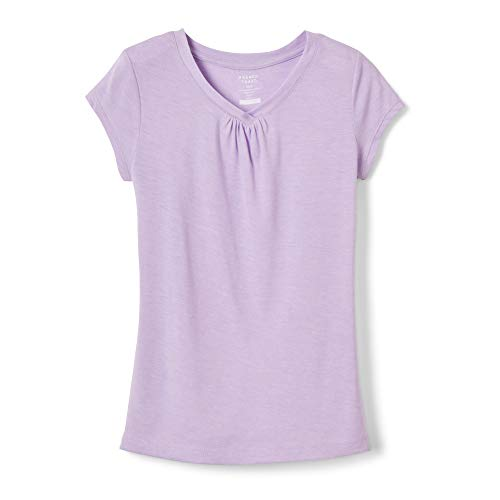 4t Tee - French Toast Girls' Toddler Short Sleeve V-Neck T-Shirt Tee, Lavender Scent Heather, 4T