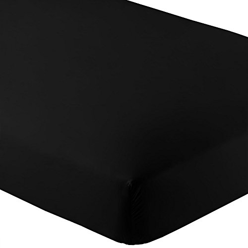 Bare Home Fitted Bottom Sheet Premium 1800 Ultra-Soft Wrinkle Resistant Microfiber, Hypoallergenic, Deep Pocket (Queen, Black)