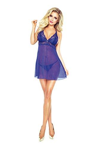Blaues Damen Dessous Reizwäsche Nacht Kleid Chemise aus Tüll und ...