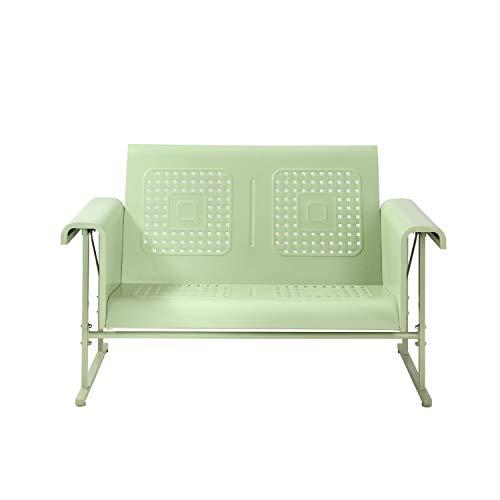 Crosley Furniture CO1027-GR Veranda Retro Outdoor Metal Loveseat Glider, Oasis Green (Sofa Metal Glider)