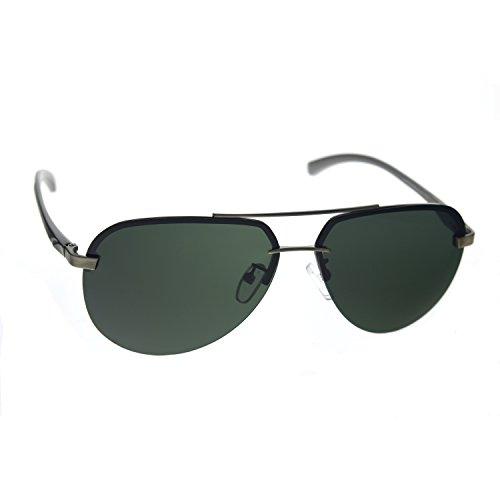 Zacway Polarized Spring Hinges Metal Rimless Aviator Oversized Sunglasses For Men Women UV400 63mm (Grey Green Lens, 63)