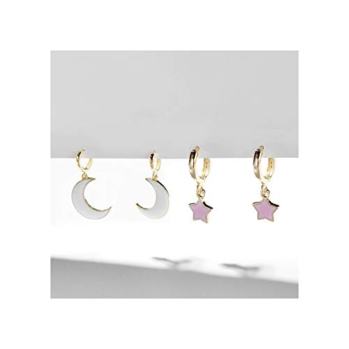 (Star Moon Drop Earring Jewelry for Women Female Korean Minimalis Geometric Cute Hanging Earring,2 pair set)