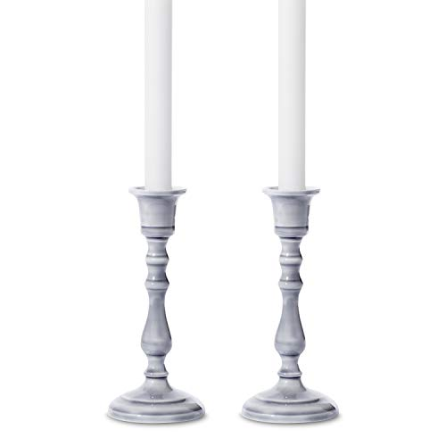 Rustic Taper Candlestick Holder - Set of 2, Grey Enamel Candleholders with Distressed Finish, 7 Inch Height, Fits Standard Size Tapered Candles, Vintage, Classic and Farmhouse Decor