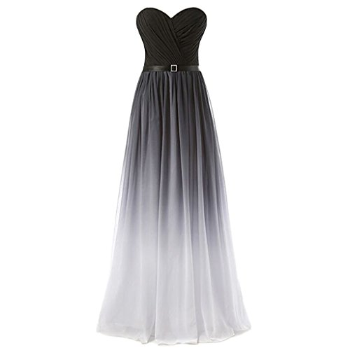 Sweetheart Criss Cross Gradient Chiffon Prom Evening Dres...