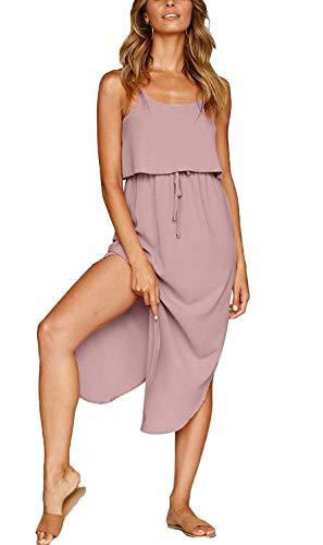 Aifer Womens Summer Casual Adjustable Spaghetti Straps Sleeveless Sundress Split Beach Midi Dress (Pastel Pink, X-Large)