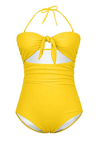 fea37ac7d4520 BOOSOULY Women's Beandeau Tie Knot Front Cut Out High Waist One Piece  Swimsuits. Jungle Print High Waist Bikini Set ...