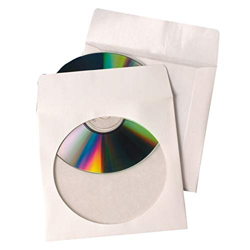 -Tear CD Sleeve, White, 4.875 inches x 5 inches, 100 Sleeves (77203) ()