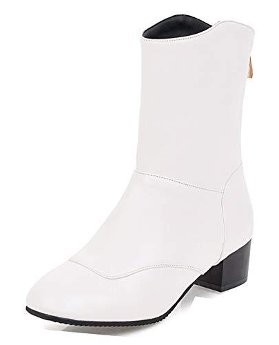 Couleur Carré Tige Aisun Bottes Femme Bout Classique Blanc Moyenne Unie wUqqRYtB