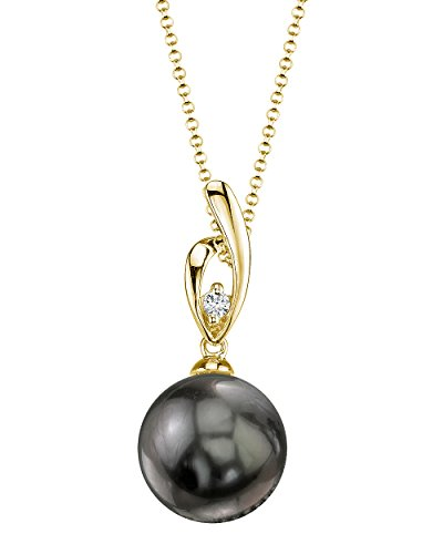 THE PEARL SOURCE 14K Gold 10-11mm Round Black Tahitian South Sea Cultured Pearl & Diamond Lois Pendant Necklace for Women
