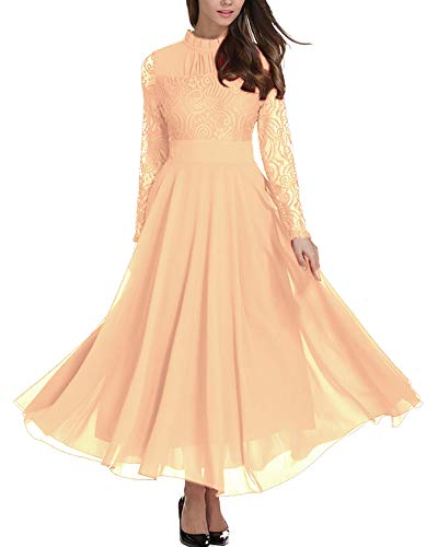 ae64fcd14b Aofur Plus Size Women s Chiffon Lace Long Prom Cocktail Ladies Maxi Evening  Party Swing Dress - Buy Online in Oman.