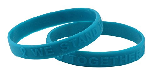 Teal Ribbon Silicone Bracelet (Raised Letter) Fundraiser (Ovarian Cancer Awareness Bracelet)