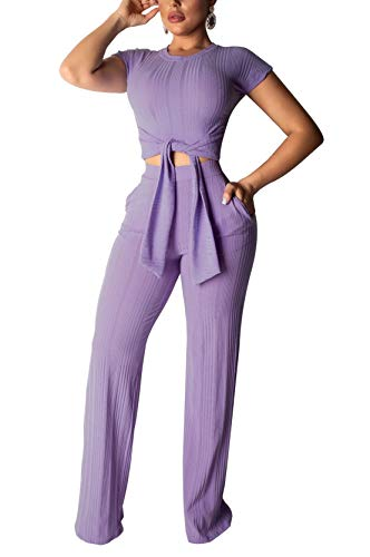 LKOUS Women's Summer Soild Color 2 Piece Outfit Crew Neck T-Shirt Jacket Crop Top and Long Pants Set 2 Piece Skirt Jacket