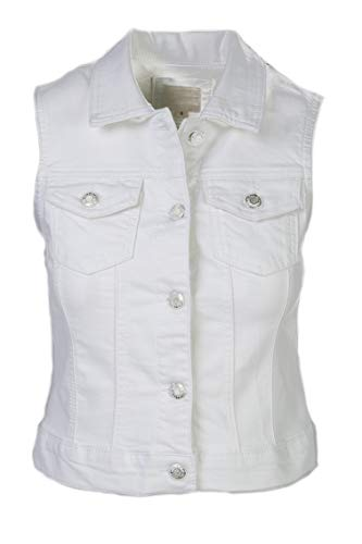 BW-011 Women's Classic Sleeveless Cropped Denim Jacket Vest White S (Cropped Denim Vest)