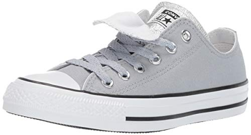 (Converse Women's Chuck Taylor All Star Double Tongue Glitter Low Top Sneaker, Wolf Grey White, 5 M US)