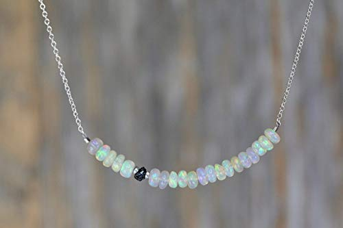 "Raw Black Diamond and White Opal Bar Necklace- Sterling Silver- 16"" Length"
