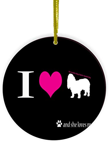 Rikki Knight I Love My Cavalier King Charles Spaniel Dog Design Round Ornament/Car Rear View Mirror Hanger (Round Mirror Charles)