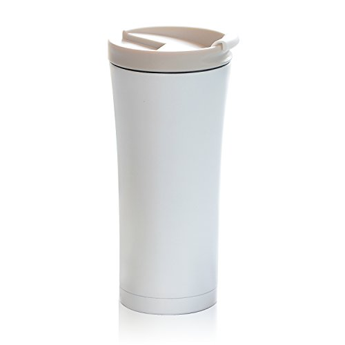 Asobu v700 White Manhattan Insulated Stainless Steel Coffee Mug - Large 17 oz Best Travel spill proof Coffee Cup Bpa Free ()