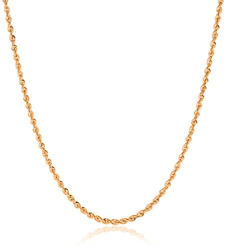"""10K Gold 1.5MM, 2MM, 2.5MM, 3MM, 3.5MM, 4MM, 5MM, or 7MM Diamond Cut Rope Chain Necklace, Bracelet, Anklet Unisex Sizes 7""""-30"""" - Yellow, White, or Rose"""