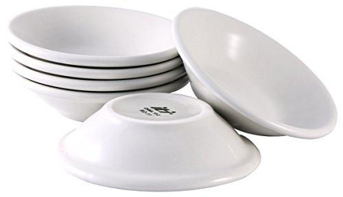 ITI Ceramic Dover Fruit Bowls with Pan Scraper, 4.75 Inch, 4 Ounce (6-Pack, Pure White) ()