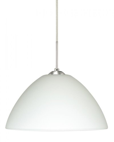 Besa Lighting 1JT-420107-LED-SN 1X6W GU24 Tessa LED Pendant with White Glass, Satin Nickel Finish