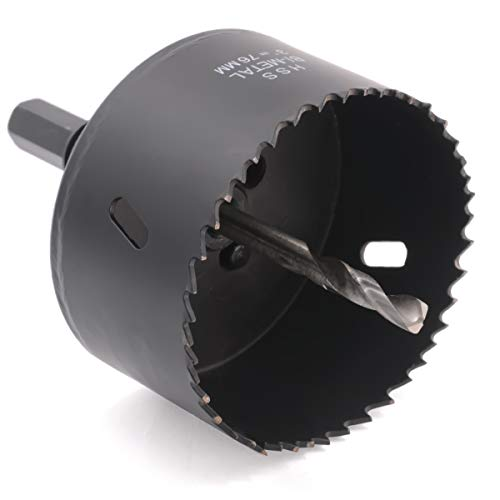 Pipe Hole Saw - Acekit 3-Inch 76mm BI-Metal Hole Saw With 1/2 Inch Hex Shank Arbor Drill Bit For Wood Plywood Laminated PVC Board,Plastic Pipe,Aluminum Alloy And Steel Sheet