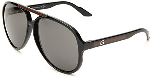 Gucci Men's 1627/S Aviator Sunglasses,Shiny Black Frame/Grey Lens,One Size