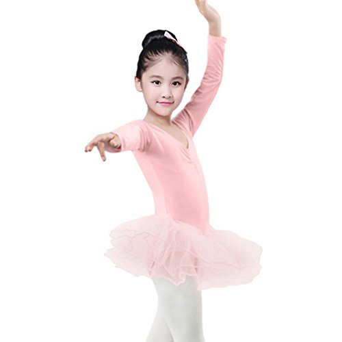 Skating Patterns Skirt (Fineser Little Girls Long Sleeve Ballet Bodysuit Kids Leotards Dancewear Dress Outfits 2-4Years (Pink, 24M))