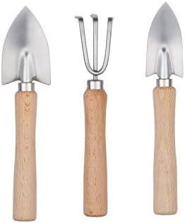 Love My Garden Chef Gartenwerkzeug-Set, 3-teilig, mit Übertopf, Rechen und Kelle – Edelstahl mit FSC-zertifizierten Holzgriffen