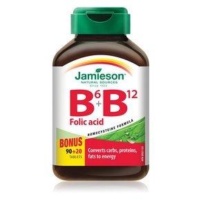 Jamieson B6 + B12 and Folic Acid, 110 tabs Bonus Size