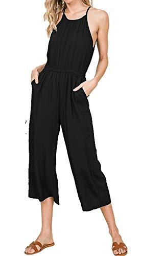 3d8812a29631e0 Daisy Del Sol Women's Sleeveless Halter Neck Elastic Smocked Waist Keyhole  Detail with Pockets Jumpsuit (