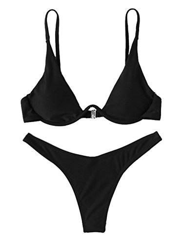 Verdusa Women's Sexy Triangle Bathing Two Pieces Swimsuit Bikini Set Black L by Verdusa