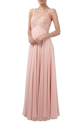 Charm Bridal Long Chiffon Beaded Sweetheart Women Summer Homecoming Party Dress -26W-Pink by Charm Bridal
