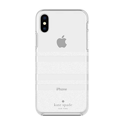 Kate Spade New York Phone Case | for Apple iPhone XS Max | Protective Phone Cases with Slim Design, Drop Protection, and Floral Print - Charlotte Stripe White Glitter/Clear