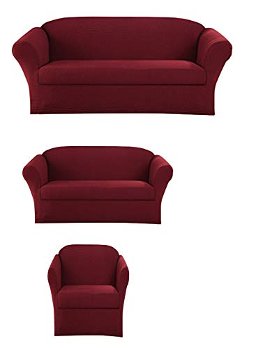 1 Free Cover - Sapphire Home 3-Piece SlipCover Set for Sofa Loveseat Couch & Arm Chair, Form fit Stretch & Wrinkle Free, Furniture Protector Cover Set for 3/2/1 Cushion, Polyester Spandex, 3pc Slipcover, Burgundy