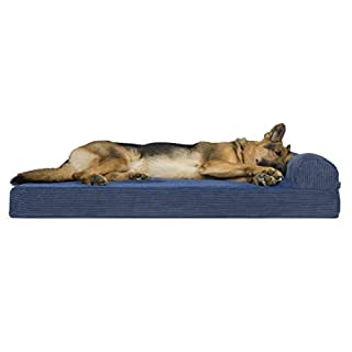 Furhaven Pet Dog Bed - Deluxe Orthopedic Faux Fleece and Corduroy Chaise Lounge Living Room Couch Pet Bed with Removable Cover for Dogs and Cats, Navy, Jumbo
