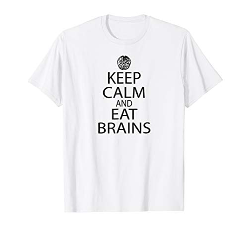 Keep Calm and Eat Brains Funny Zombie Comic Con Tshirt for $<!--$19.99-->