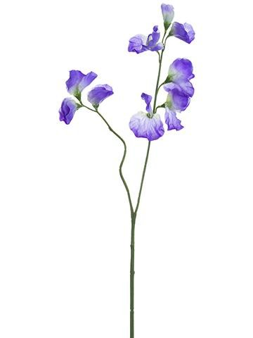 - Floral Home Artificial Sweet Pea Spray in Purple - 16