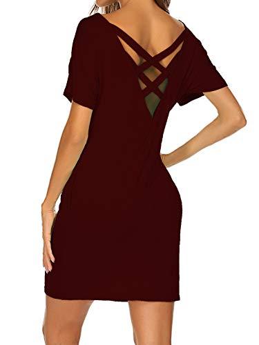 Kancystore Summer Criss Cross Back Short Sleeve Tshirt Dress with Pockets Red M